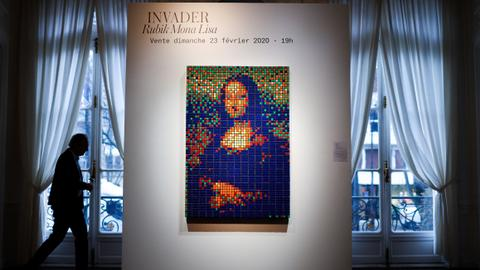 Invader's 'Rubik Mona Lisa' beats estimate at Paris auction