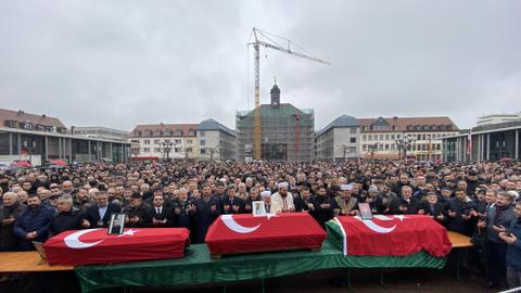 Funeral ceremony held for Turkish victims of racist attack in Germany