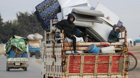 Fleeing the bombs, Syrians set up camp underground