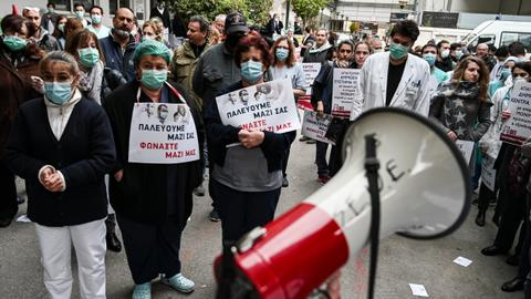 Greek health workers demonstrate over coronavirus conditions