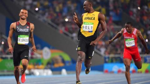 Sarcastic Bolt gives competitor De Grasse tips
