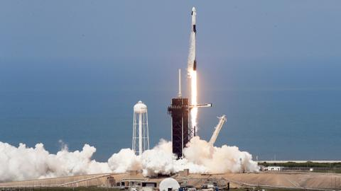 SpaceX rocket ship lifts off with two astronauts
