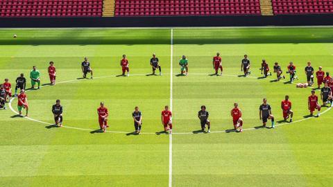 Liverpool stars take a knee to show support for #BlackLivesMatter