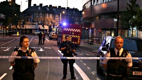 One dead, 10 injured after van hits worshippers near London mosque
