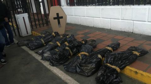 Protest corpses laid outside Venezuela national guard