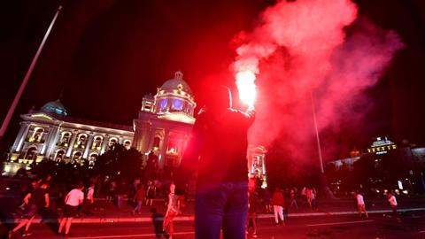 Demonstrators storm Serbian parliament in protest over weekend lockdown