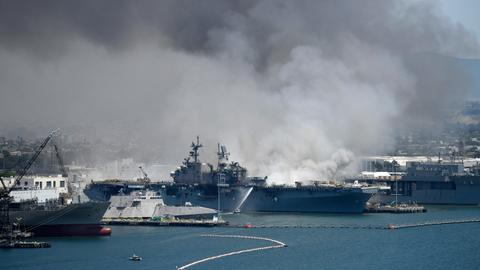 Many injured after fire erupts on US navy ship