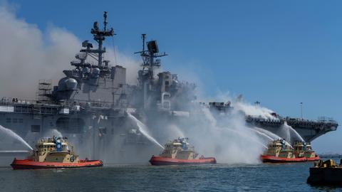 Fire ravages US navy warship for second day