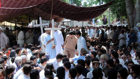 Vulnerable tribespeople in Pakistan demand security after twin blasts