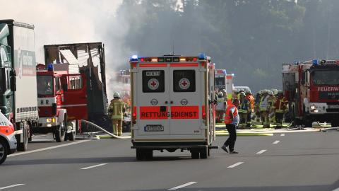 Bus bursts into flames in Germany, 18 feared dead