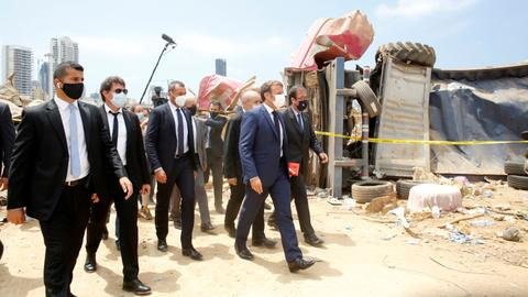 Macron visits Lebanon as Beirut blast sparks grief and fury