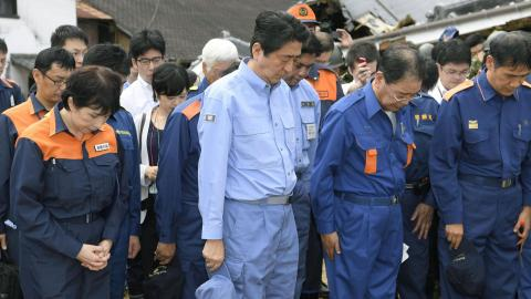 Japanese PM promises support for victims of flooding in Kyushu