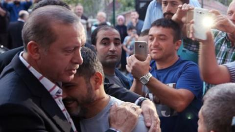 How did Erdogan handle the coup on the night of July 15?