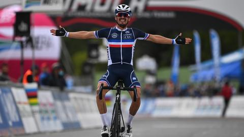 Cyclist Julian Alaphilippe wins world road race title