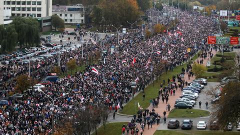 Belarus opposition leader calls national strike from Monday