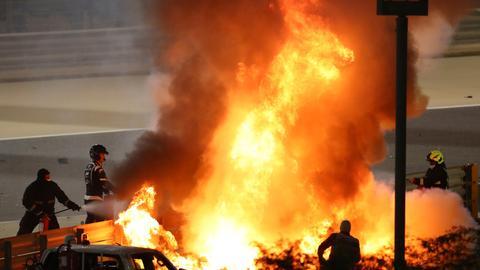 Grosjean escapes with burns after horror crash at Bahrain GP