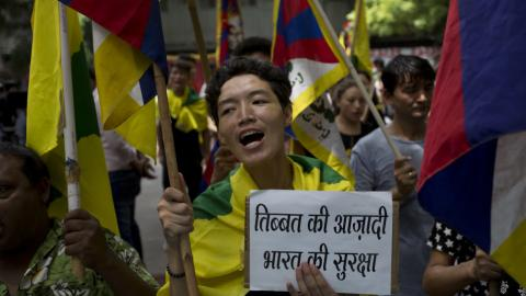 Tibetan exiles hold rally backing India