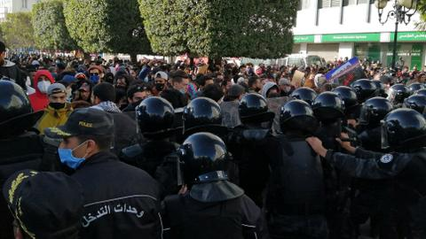 Hundreds protest in Tunisia over inequality, police brutality