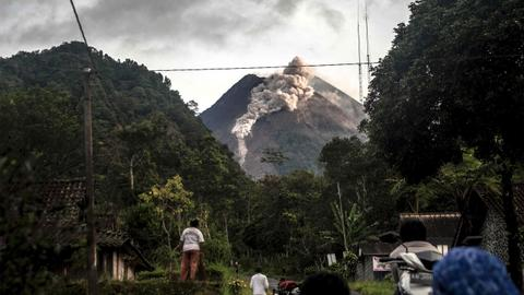 Indonesia's Merapi volcano erupts, spews lava and ash