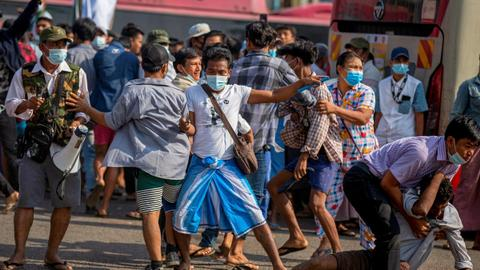 Clashes erupt in Myanmar between pro-military and anti-coup protesters