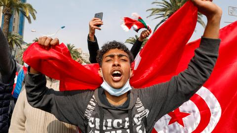 Tunisia's Ennahda holds street protest as political tensions stay high