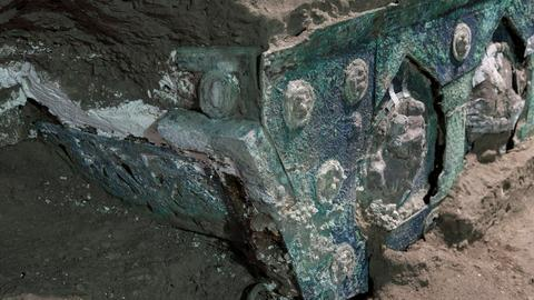 Ancient ceremonial chariot unearthed almost intact near Pompeii