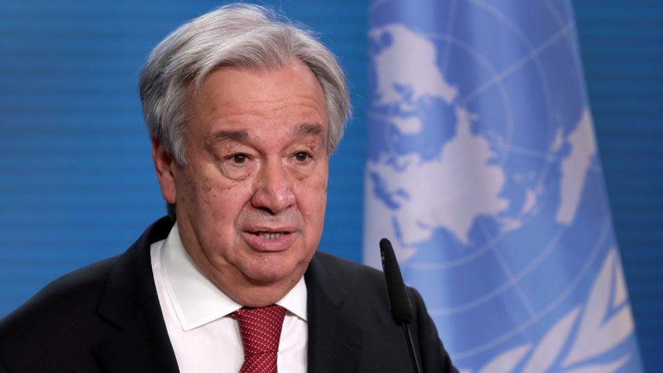 In this file photo, UN Secretary-General Antonio Guterres addresses the media during a joint news conference with German Foreign Minister Heiko Maas after a meeting in Berlin, Germany, December 17, 2020.