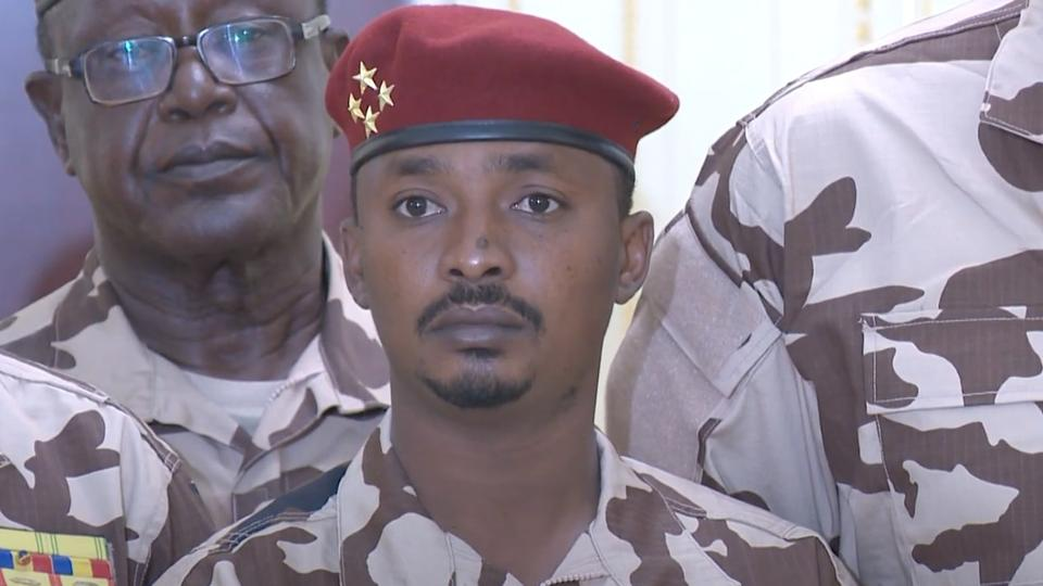 A screen grab captured from a video shows General Mahamat Idriss Deby Itno, son of late Chadian President Idris Deby Itno on state TV in N'Djamena, Chad on April 20, 2021.