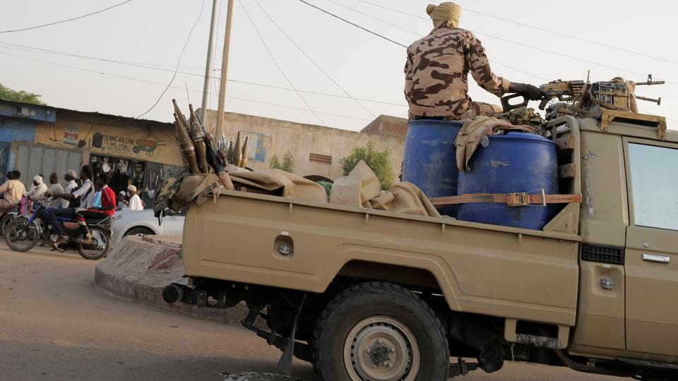 Members of the security forces drive along the market following the battlefield death of President Idriss Deby in N'Djamena, Chad April 26, 2021. Picture taken April 26, 2021.