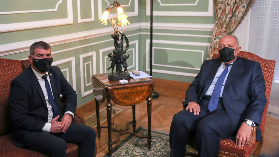 Egyptian Foreign Minister Sameh Shoukry meets with Israeli Foreign Minister Gabi Ashkenazi at Tahrir Palace in Cairo, Egypt on May 30, 2021.