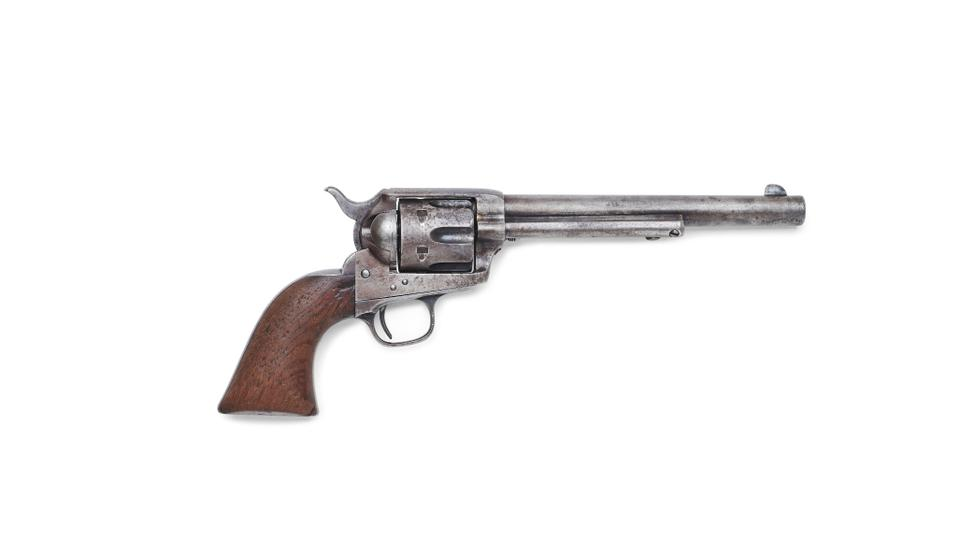 The Colt single action revolver used by Sheriff Pat Garrett to kill US outlaw Billy the Kid in July 1881 is seen in an undated photo before an auction at Bonhams in Los Angeles.