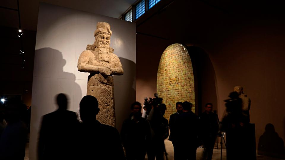 People visit the Assyrian Hall at the Iraq National Museum in Baghdad, Iraq, on February 3, 2019.