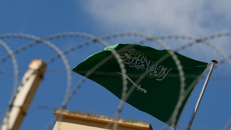 The Saudi Arabia flag flies over the consulate in Istanbul, Sunday, Oct. 7, 2018.