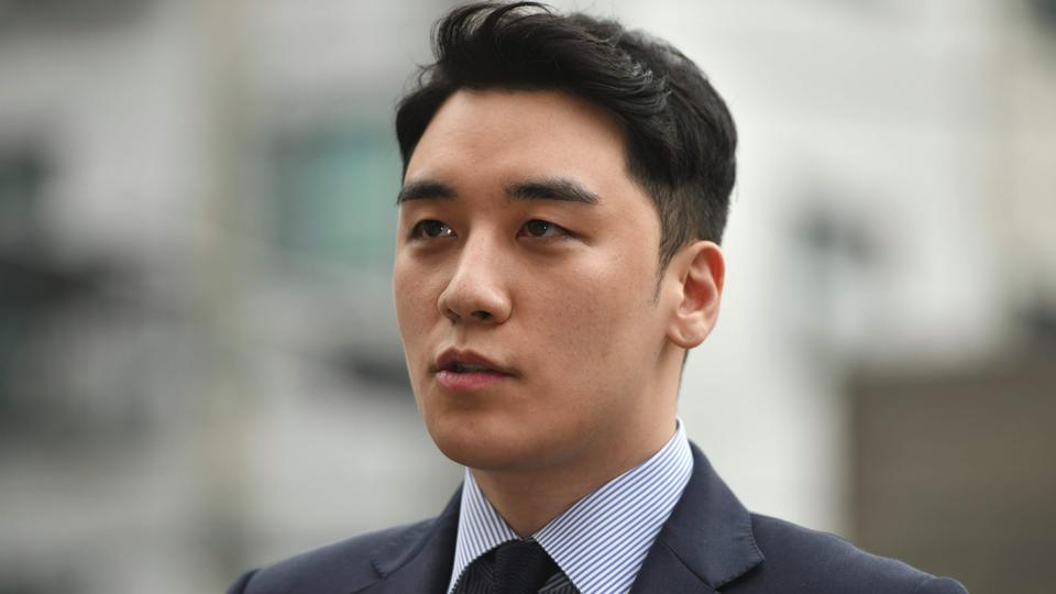 File photo: Former BIGBANG boyband member Seungri, real name Lee Seung-hyun, speaking to the media as he arrives for police questioning in Seoul on August 28, 2019.