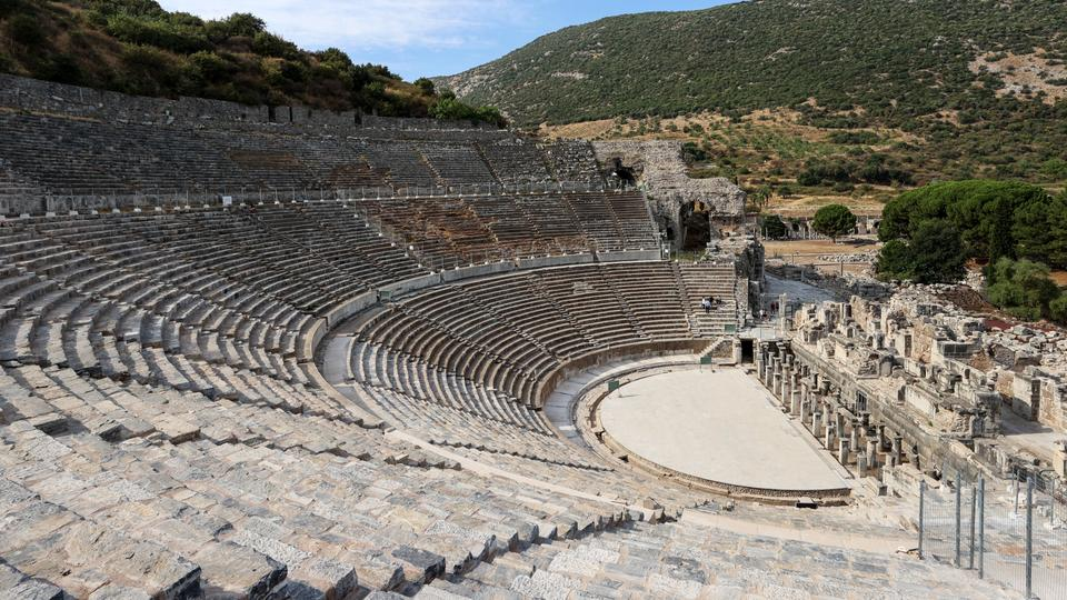 A view of the amphitheatre at Ancient Ephesus City in Izmir, Turkey on August 12, 2021.