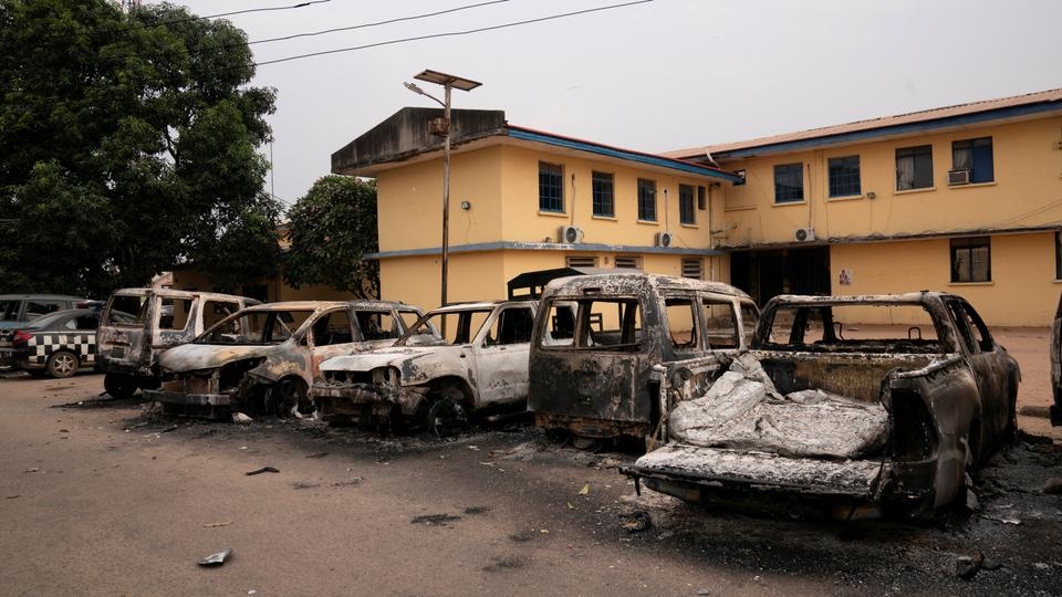 In this file image, burnt vehicles are seen outside the Nigeria police force Imo state command headquarters after gunmen attacked and set properties ablaze in Imo State, Nigeria April 5, 2021.
