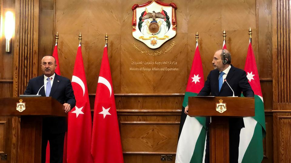 Turkish Foreign Minister Mevlut Cavusoglu and his Jordanian counterpart Ayman al Safadi attend a joint news conference in Amman, Jordan on August 17, 2021.