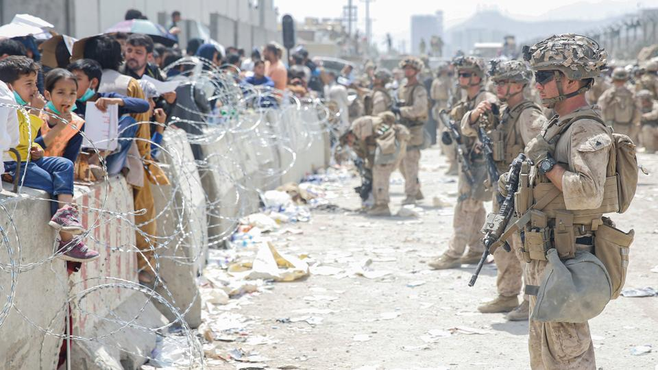 US Marines assist in evacuation efforts at Kabul airport in Afghanistan on August 20, 2021.