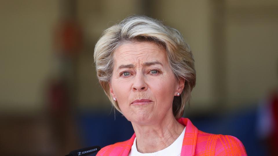 President of EU Commission Ursula Von der Leyen speaks as she attends a news conference at Torrejon Air Base in Torrejon de Ardoz, near Madrid, Spain, on August 21, 2021.