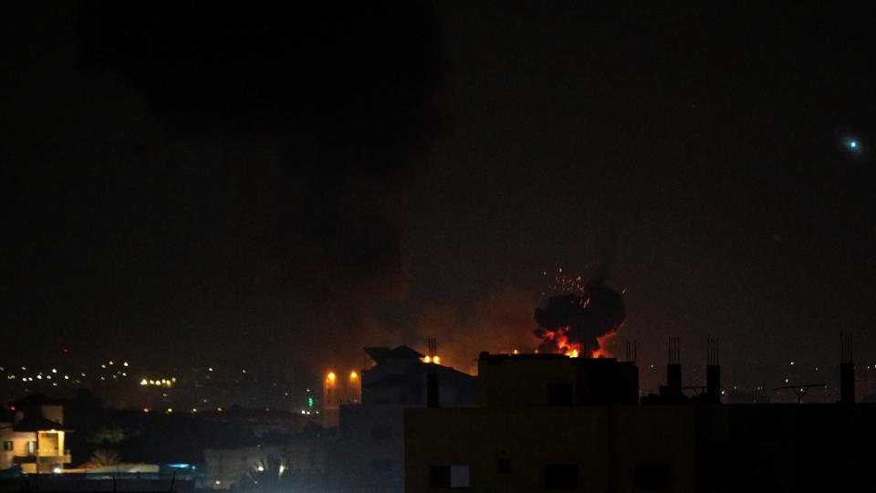 Smoke rises after Israeli army carried out air strikes on Gaza City, Gaza on August 22, 2021.