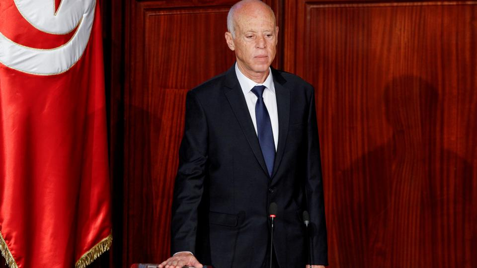 In this October 23, 2019 file photo, Tunisia's President Kais Saied takes the oath of office in Tunis, Tunisia.