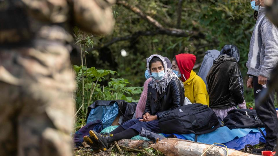 Refugees stuck on the Belarus border near Bialystok, Poland on August 20, 2021.