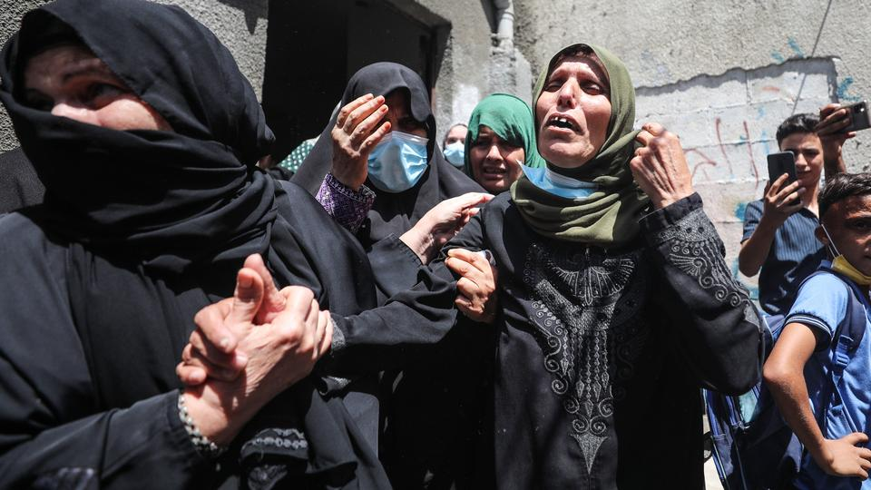 Funeral ceremony held at Jabaliya Refugee Camp in northern Gaza for Osama Khalid Adaeej who died of wounds after Israeli forces shot at protesters last week, in Gaza on August 25, 2021.