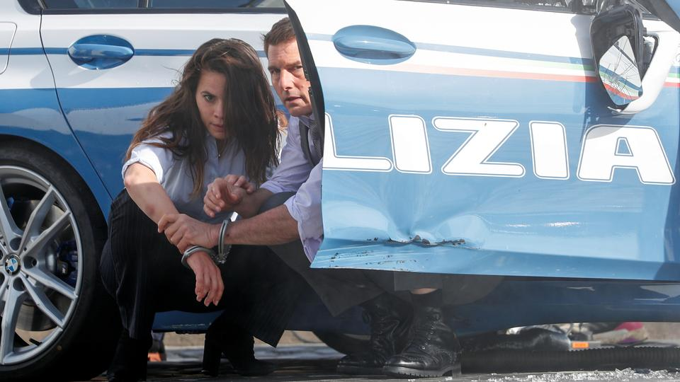 Actors Tom Cruise and Hayley Atwell are seen on the set of