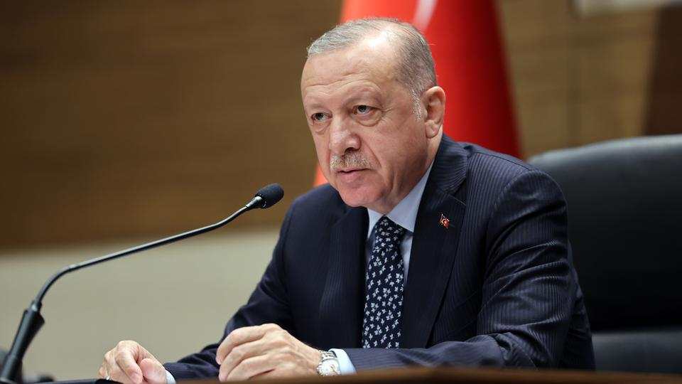 Turkish President Recep Tayyip Erdogan speaks during a press conference at Ataturk Airport ahead of his Bosnia and Herzegovina flight in Istanbul, Turkey on August 27, 2021.
