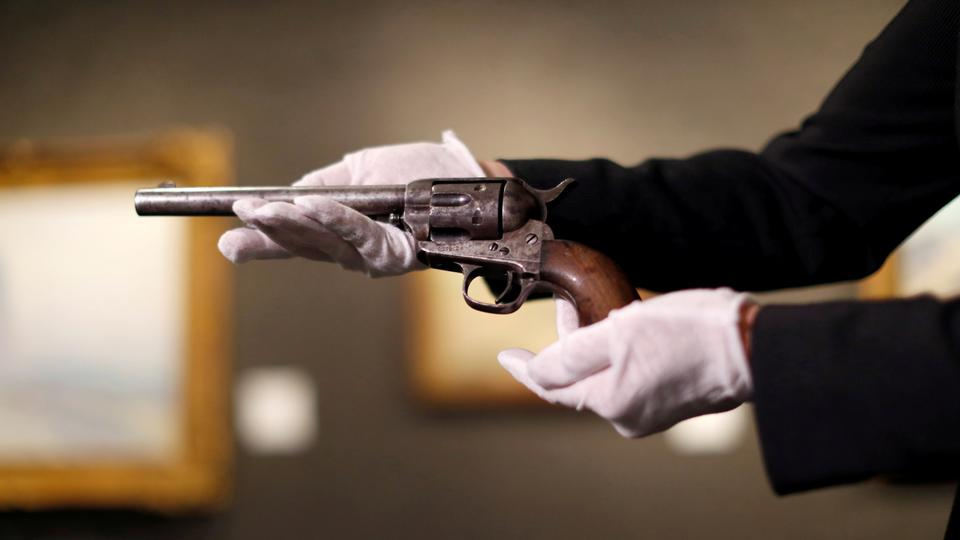 FILE PHOTO: A media preview of the Colt Single Action Army revolver used to kill Billy the Kid in Los Angeles.
