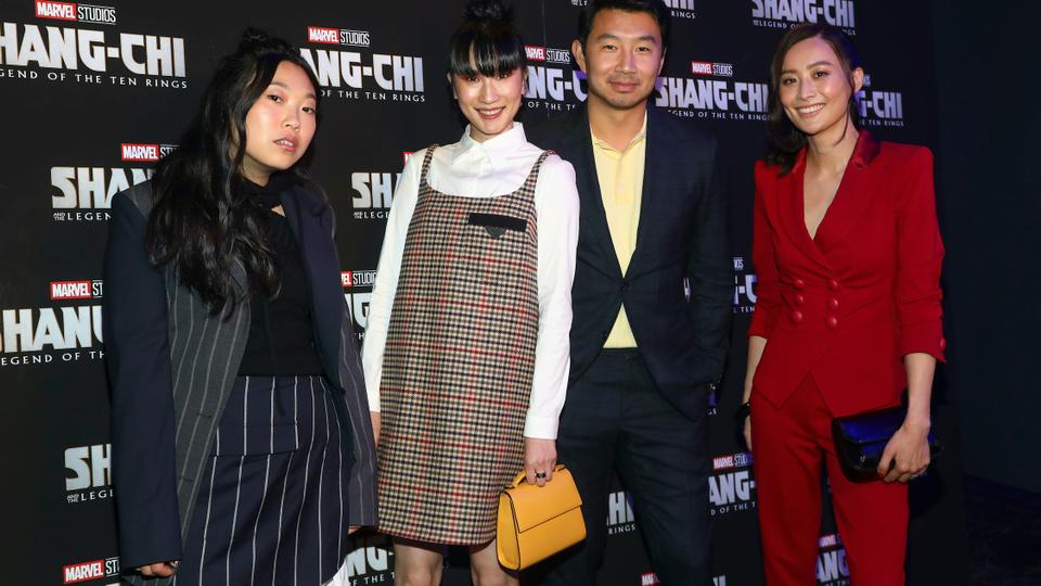 Awkwafina, from left, Meng'er Zhang, Simu Liu and Fala Chen arrive at a screening of