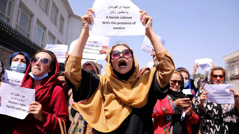 Afghan women protest to demand their rights in front of presidential palace in Kabul, Afghanistan on  September 3, 2021.