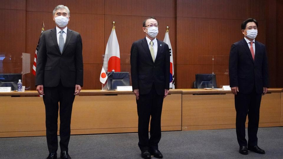 American, Korean and Japanese envoys during their trilateral meeting on North Korea in Tokyo.