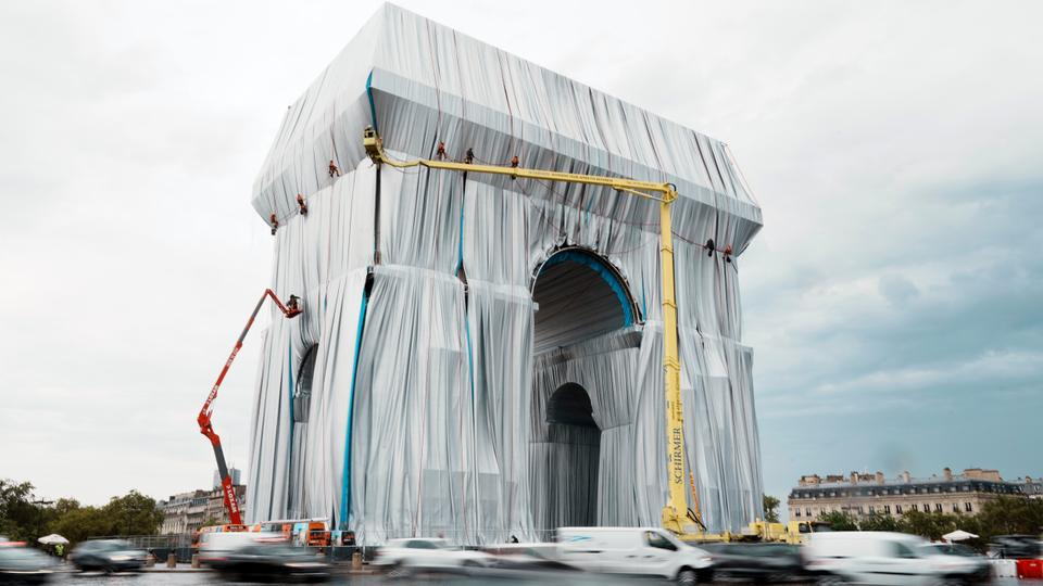 The wrapped Arc de Triomphe in Paris, France on Sept. 12, 2021